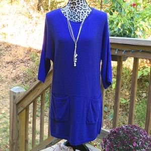 Soft Surroundings Royal Blue Sweater Tunic Dress